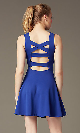 Short Sleeveless Fit-and-Flare Party Dress