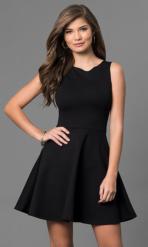 Image of short sleeveless little-black dress. Style: CH-2420 Front Image