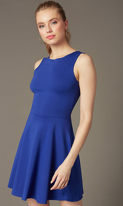 Image of short sleeveless fit-and-flare party dress. Style: CH-2420 Back Image