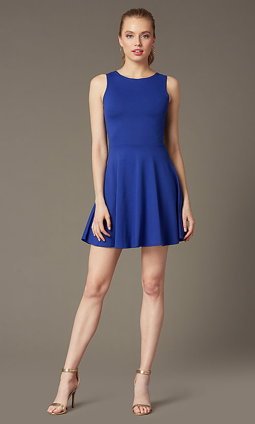 Image of short sleeveless fit-and-flare party dress. Style: CH-2420 Detail Image 2