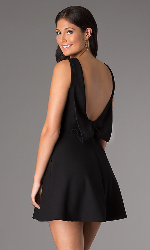 Image of short sleeveless v-neck homecoming party dress. Style: CH-2435 Back Image