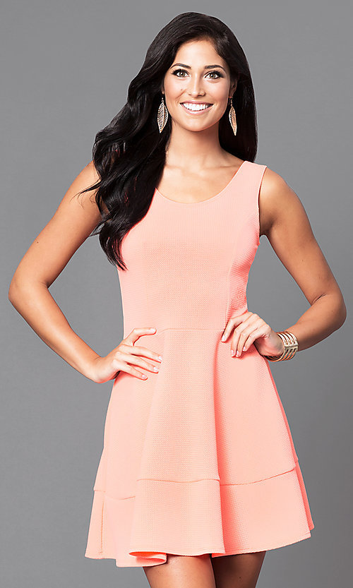 Image of affordable short sleeveless a-line party dress. Style: CH-2399 Front Image