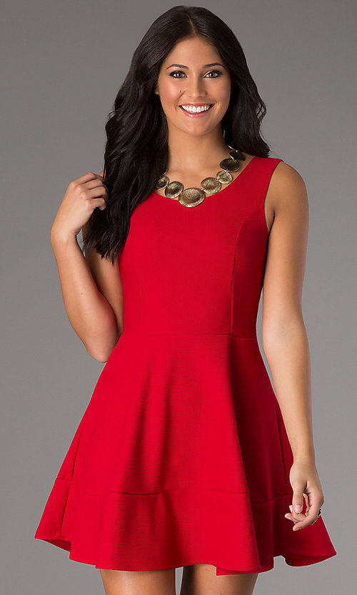 Image of affordable short sleeveless a-line party dress. Style: CH-2399 Detail Image 3