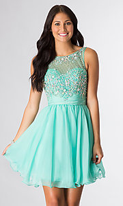 Image of short sleeveless beaded party dress Style: DQ-8806 Detail Image 1