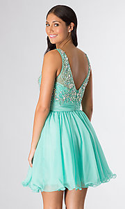 Image of short sleeveless beaded party dress Style: DQ-8806 Back Image