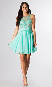 Image of short sleeveless beaded party dress Style: DQ-8806 Detail Image 2