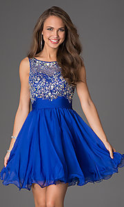 Image of short sleeveless beaded party dress Style: DQ-8806 Front Image
