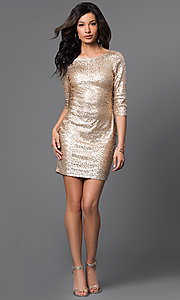 Image of Short Gold Sequin Long Sleeve Dress Style: RR-FDN12113i-717 Detail Image 1