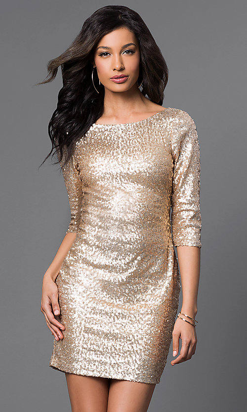 Image of Short Gold Sequin Long Sleeve Dress Style: RR-FDN12113i-717 Front Image