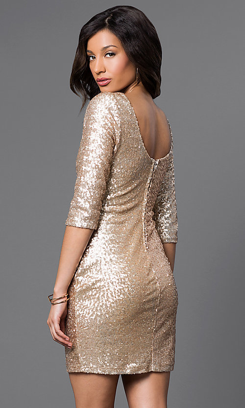 Image of Short Gold Sequin Long Sleeve Dress Style: RR-FDN12113i-717 Back Image