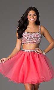 Image of Two Piece Crop Top Short Prom Dress NA-6031 Style: NA-6031 Front Image