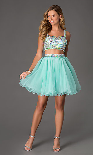 Two Piece Crop Top Short Prom Dress Na 6031