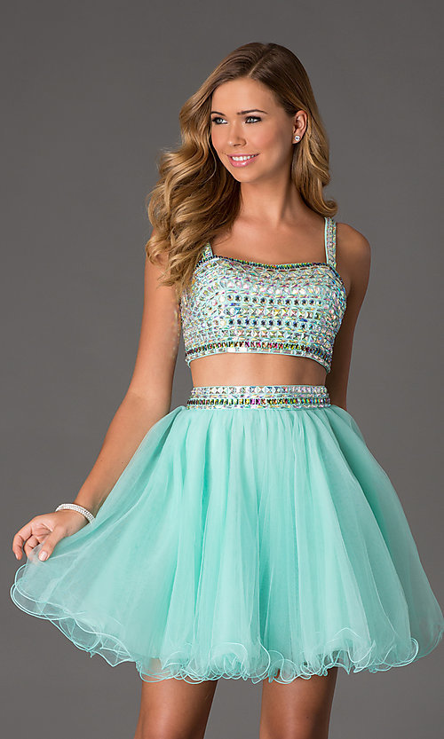 Image of Two Piece Crop Top Short Prom Dress NA-6031 Style: NA-6031 Detail Image 3