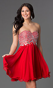 Image of Beaded Strapless Short Dress Style: NA-6033 Detail Image 3