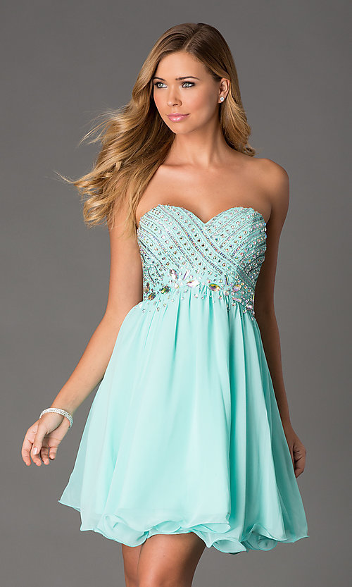 Image of Beaded Strapless Short Dress Style: NA-6033 Detail Image 2