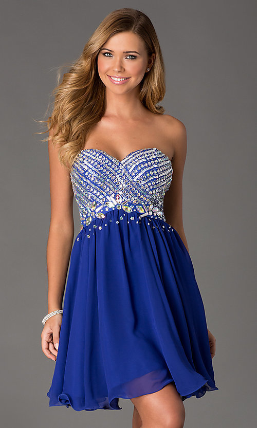 Image of Beaded Strapless Short Dress Style: NA-6033 Front Image