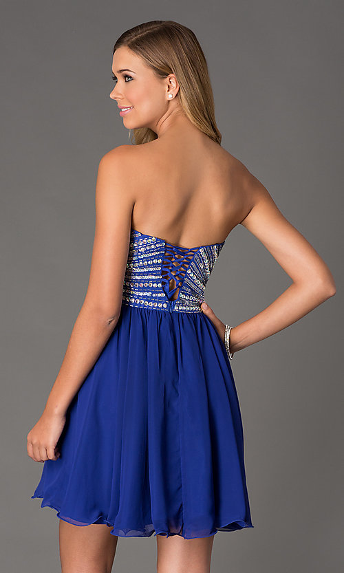 Image of Beaded Strapless Short Dress Style: NA-6033 Back Image
