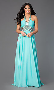 Image of Madison James long halter prom dress in chiffon.  Style: NM-15-103 Front Image