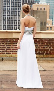 Image of Madison James long halter prom dress in chiffon.  Style: NM-15-103 Back Image