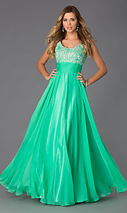 Image of Alyce lace-bodice long chiffon formal prom dress. Style: AL-35689 Detail Image 1