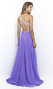 Image of floor-length one-shoulder dress by Blush Style: BL-9965 Back Image