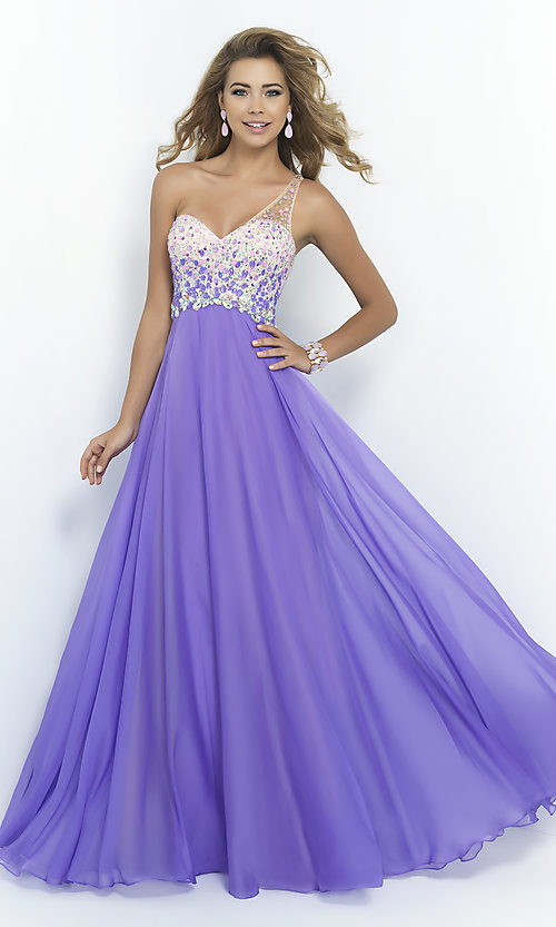 Image of floor-length one-shoulder dress by Blush Style: BL-9965 Front Image