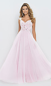 Image of Cap Sleeve Lace Embellished Pink Sweetheart Prom Gown by Blush 9986 Style: BL-9986 Front Image