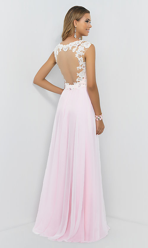 Image of Cap Sleeve Lace Embellished Pink Sweetheart Prom Gown by Blush 9986 Style: BL-9986 Back Image