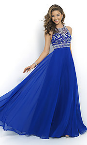 Image of High Neck Long Beaded Gown by Blush 10001 Style: BL-10001 Front Image