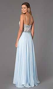 Image of long formal Dave and Johnny spaghetti-strap gown. Style: DJ-489 Back Image