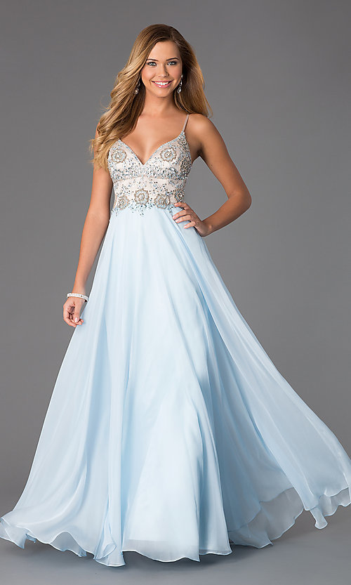 Image of long formal Dave and Johnny spaghetti-strap gown. Style: DJ-489 Front Image