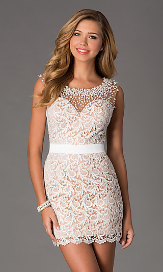 6f3b939a1c4 Short Sleeveless Ivory Lace Prom Dress