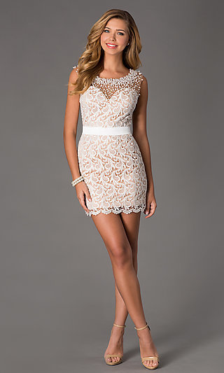 Dave and Johnny Short Ivory Lace Prom Dress