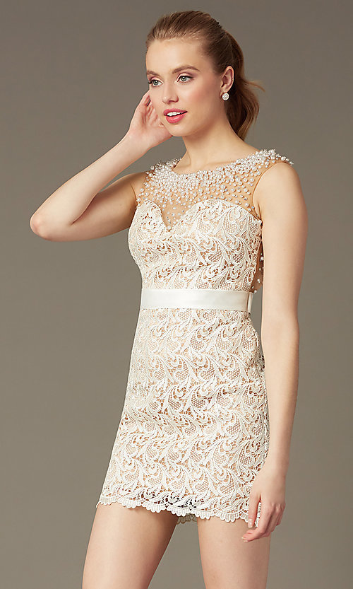 Image of Dave and Johnny Short Sleeveless Ivory Lace Prom Dress Style: DJ-0453 Front Image
