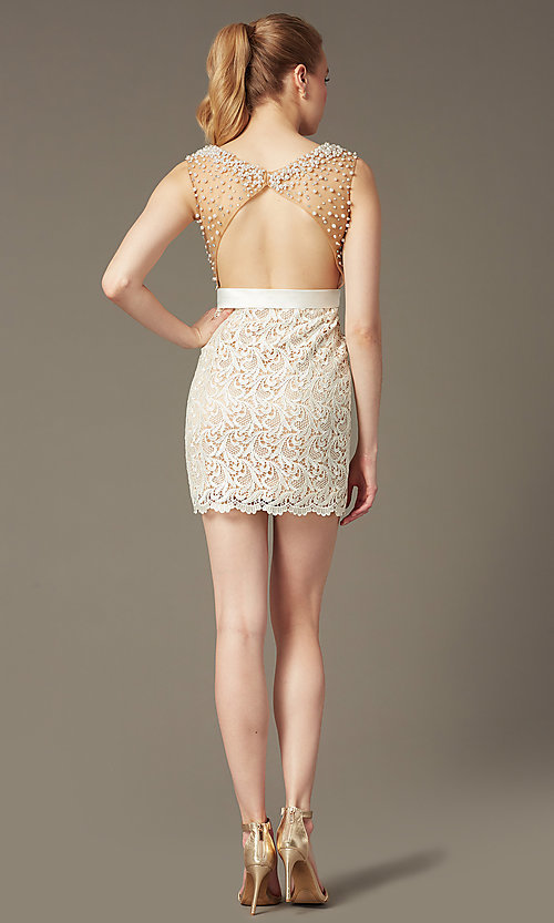Image of Dave and Johnny Short Sleeveless Ivory Lace Prom Dress Style: DJ-0453 Back Image