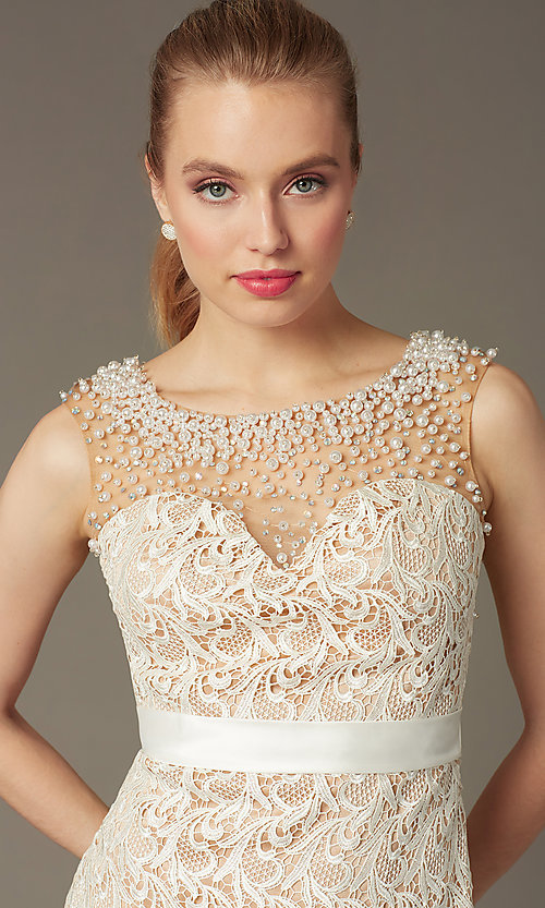 Image of Dave and Johnny Short Sleeveless Ivory Lace Prom Dress Style: DJ-0453 Detail Image 1