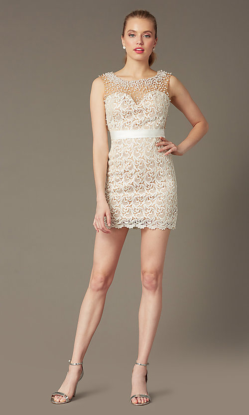 Image of Dave and Johnny Short Sleeveless Ivory Lace Prom Dress Style: DJ-0453 Detail Image 2