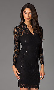 Image of Jump long-sleeve lace v-neck cocktail dress.  Style: JU-MA-261800 Detail Image 1