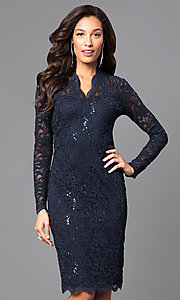 Image of Jump long-sleeve lace v-neck cocktail dress.  Style: JU-MA-261800 Detail Image 3