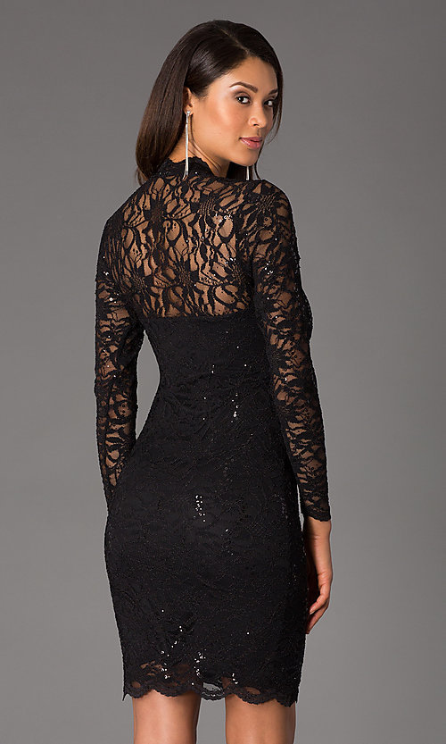 Image of Jump long-sleeve lace v-neck cocktail dress.  Style: JU-MA-261800 Back Image