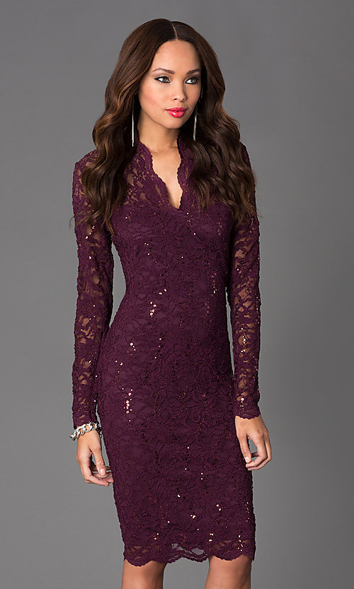 Image of Jump long-sleeve lace v-neck cocktail dress.  Style: JU-MA-261800 Front Image