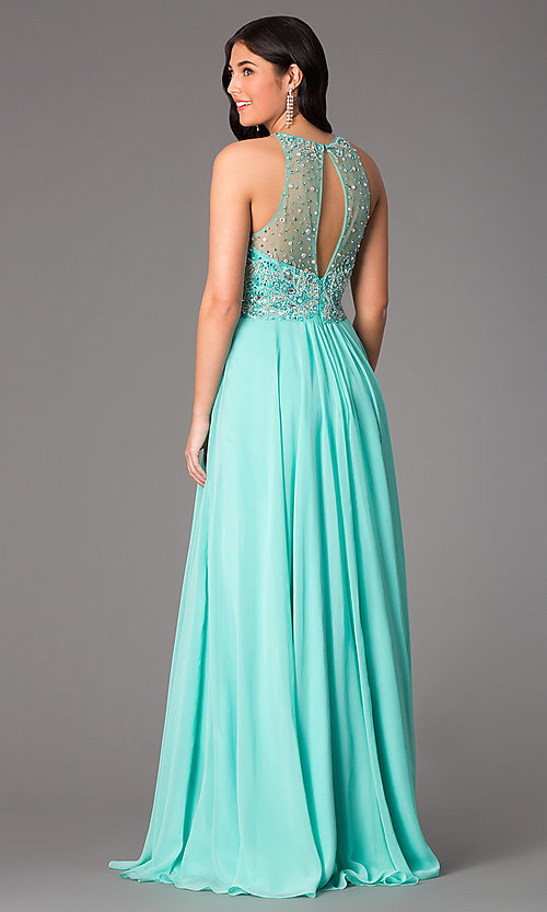 Image of Faviana Beaded Gown with Sheer Back S7560 Style: FA-S7560 Back Image