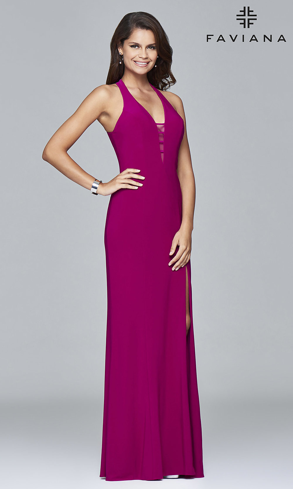 Long Low Cut V-Neck Halter Gown by Faviana 7540