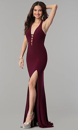 Long Low Cut V Neck Halter Gown By Faviana 7540