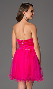 Image of strapless sweetheart tulle party dress. Style: DQ-8781 Back Image