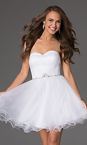 Image of strapless sweetheart tulle party dress. Style: DQ-8781 Front Image