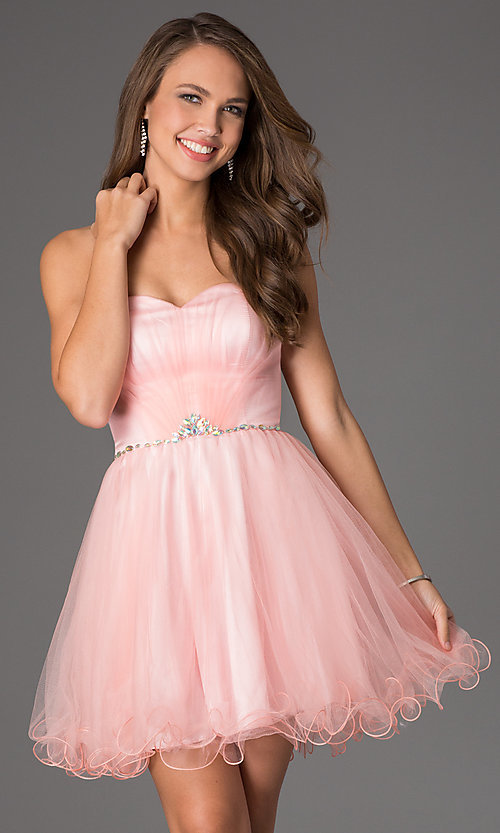 Image of strapless sweetheart tulle party dress. Style: DQ-8781 Detail Image 1