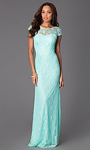 Image of Floor Length Short Sleeve Lace Dress DQ-8768 Style: DQ-8768 Detail Image 1
