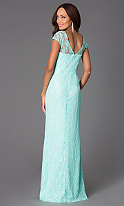Image of Floor Length Short Sleeve Lace Dress DQ-8768 Style: DQ-8768 Back Image