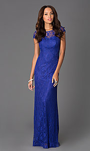 Image of Floor Length Short Sleeve Lace Dress DQ-8768 Style: DQ-8768 Detail Image 2